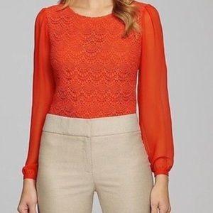 Antonio Melani Red Long Sleeve Lace Blouse Top